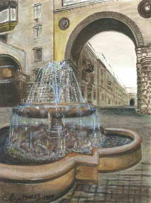 This is a typical fountain found like those in Kiev, the Capital of Ukraine